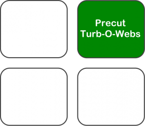 Graphic depicting three packs of timber- 3 cut in-plant and 1 precut Turb-O-Webs.