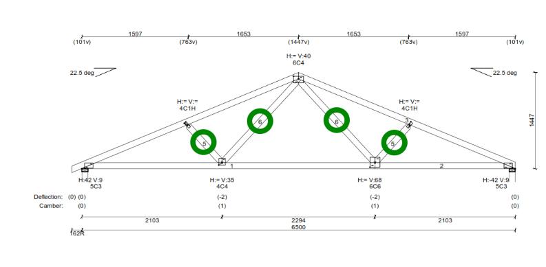 "four precut Turb-O-Webs in an ""A"" type fink truss."