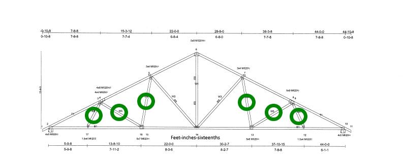 Standard modified queen truss using 6 precut Turb-O-Webs.