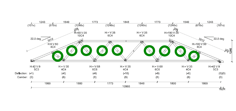 Truncated Standard truss with fink web pattern using precut Turb-O-Webs.